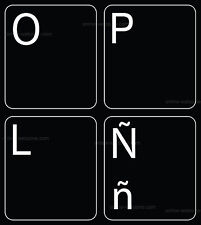 SPANISH LATIN AMERICAN KEYBOARD STICKER FOR COMPUTER NON TRANSPARENT BLACK