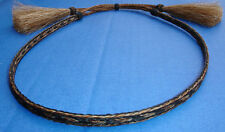 Western Rodeo Cowboy HAT BAND 3 Strand Black/Brown Horsehair With 2 Tassels