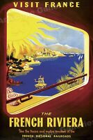 1952 Visit French Riviera - Vintage Style Travel Poster - 16x24