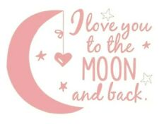 LOVE YOU TO THE MOON AND BACK Wall Decal Mural Childs Bedroom Nursery Star Heart