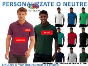 T-Shirt Polo Fruit Of The Loom uomo Manica Corta Da Lavoro 65/35 Maglietta s-xxl