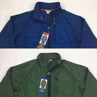 Men's Orvis Mixed Media Jacket Poly Blend Lightweight Full Zip Green Blue