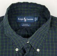 Ralph Lauren Blake Long Sleeve Blue Green Plaid Button Down Shirt Men's M Medium