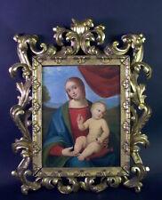 feines Barock Ölgemälde - Maria mit Jesuskind und Taube - Rocaille Holzrahmen