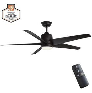 Hampton Bay Ceiling Fan Light LED Mena 54-Inch White Ceiling Fan Matte Black
