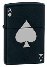 More details for personalised ace of spades black matte design zippo cigarette lighter, engraved
