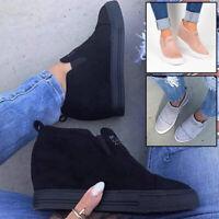 Women Ladies Slip-on Wedge Heel Sneakers Sport Elevator Platform Shoes Loafers