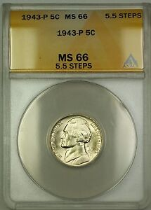 1943-P 5.5 Steps U.S. Wartime Silver Jefferson Nickel 5c Coin ANACS MS-66 (B)