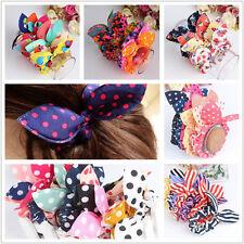 NEW! 10pcs Lovely Bunny Ears Elastic Chiffon Hair Rope Stretchy