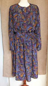 1980s Vintage Long Sleeve Purple Calf-length Dress - Size 16 - Marks & Spencer