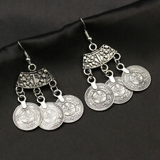 India Egypt Silver Alloy Coins Tassels Pendant Dangle Stud Earrings Jewelry Gift