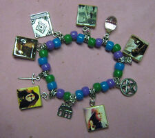 """SECRET CIRCLE"" BEADED CHARM BRACELET-BLUE / GREEN / LAVENDER"