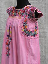 Traditional Women's Escalante San Antonino Dress Embroidered S 8 Pink Cotton
