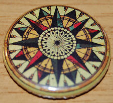 VINTAGE COMPASS 25MM /1 INCH BUTTON BADGE MARITIME RETRO COOL NOSTALGIA