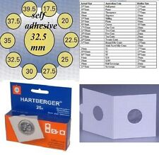25 HARTBERGER self adhesive 2 x 2 coin holders:32.5 mm   made in the Netherlands