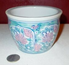 Vintage E I T White Pink Blue FLORAL DESIGN Cermic Pottery BOWL Vase Planter ^