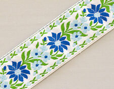 Jacquard, Ribbon Trim. Blue & Baby Blue Flowers on White