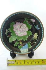 Vintage Cloisonné Chinese Oriental Bowl/Dish Copper Covered Flower + Bird Design