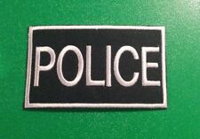 NOVELTY MILITARY SEW ON / IRON ON PATCH:- POLICE (a) BLACK & WHITE BLOCK