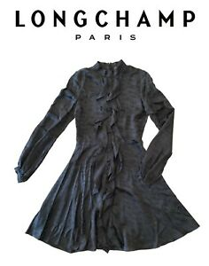 LONGCHAMP DRESS Robe BLACK SILK Ruffles Le Pliage Horse Horses 36 SMALL 40