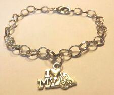 bracelet argenté 20,5 cm I love my dog (j'aime mon chien)