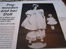 Vtg Magazine Peg Wooden Doll Pattern w/ Her Doll Too / Doris Rockwell Gottilly