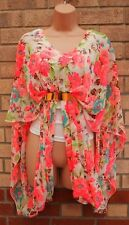 PARISIAN WHITE NEON PINK GREEN FLORAL RUCHED CAPE GRECIAN BLOUSE TUNIC TOP 12 M