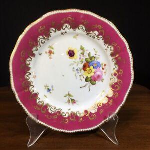 Ridgway plate with flower spray, claret ground, c. 1835