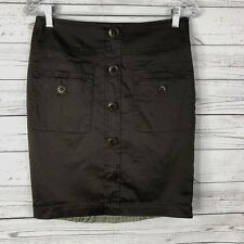 Trina Turk Los Angeles Womens Pencil Skirt Sz 4 Brown Button Front Lined