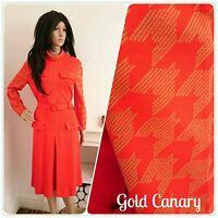 Vintage 60s 70s Red Houndstooth Jersey A line Belted Shift Dress Mod 14 42