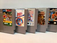 NES 5 Game Lot, Tested, Nintendo Arch Rivals, WrestleMania, Bases Loaded 2, ++