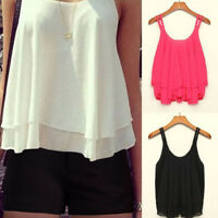 Womens Ladies Cami Sleeveless Swing Vest Top Strappy Plain Flared Vest