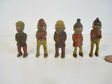 Set of 5 ~ Painted Cast Iron ~ 2 inch Tall,  Palmer Cox Brownie Toy Figurines