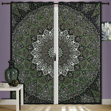 Green Color Star Mandala Wall Hanging Door Window Curtain Drape Valance Indian