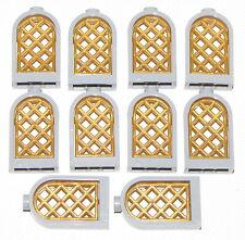 LEGO LOT OF 10 NEW LIGHT BLUISH GREY ROUND WINDOWS WITH PEARL GOLD LATTICE CASTL