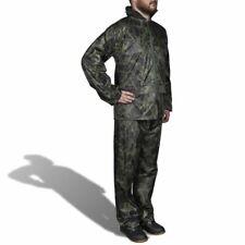 vidaXL Men's Print 2-Piece Rain Suit with Hood M Camo Waterproof Jacket Pants