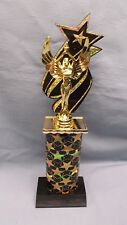 victory trophy award black star column black star backdrop marble base