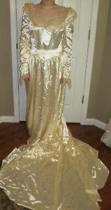 Ivory Cream Wedding Dress Lace Size 14 Extra Long Train Vintage
