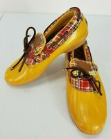 Sperry Top-Sider Womens 7 Yellow Low Top Duck Boots Waterproof Shoes Slip On