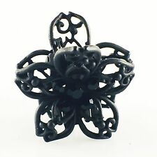 QUALITY HAIR ClAW Clip Hairpin use Swarovski Crystal VINTAGE GIFT Flower Black 1