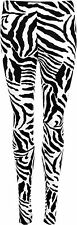 WOMENS ZEBRA PRINT LEGGINGS LADIES ANIMAL PLUS SIZE 8 - 26 FANCY DRESS COSTUME