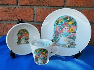 Homer Laughlin USA Child's 3 Piece Set New In Box Girl With Sunflower & Flowers