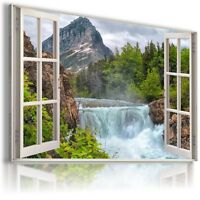 """3D WATERFALL Window View Canvas Wall Art Picture Large SIZE 38X24"""" W28"""