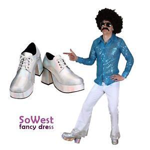 Fancy Dress Mens Costume 70s 1970s Shoes Rock Disco Nights Shirt & Flares Suit