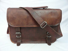 "Real Brown Leather 13"" Macbook Briefcase Laptop Satchel Attache Eco-Friendly"