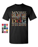 My Best Friend Bark T-Shirt Dog Pet Lover Tail Paw I love My Dog Mens Tee Shirt
