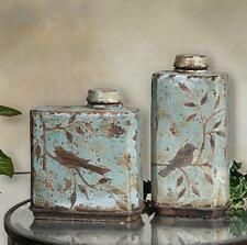 ST/2 FRENCH TUSCAN Songbird DISTRESSED Containers JARS URNS VASES ~ GORGEOUS