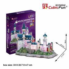 New LED Light Neuschwanstein Castle 3D Model Paper Jigsaw Puzzle 128 Piece L174H
