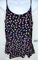 BNWT River Island Black Floral Strappy Camisole Peplum Smock Top Size 10 RRP £18