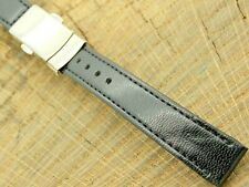 Seiko Vintage Leather Watch Band w Silver Tone Deployment Clasp 14mm NOS Unused